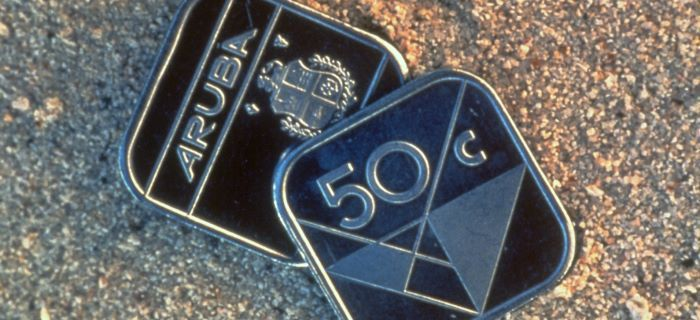 Aruba's famous square shaped 50 cent coin