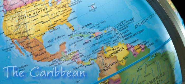 The Caribbean on the globe
