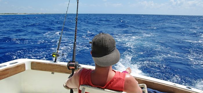 Fishing near the coast of Aruba, Dutch Caribbean
