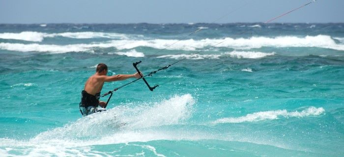 Kitesurfing on the South-North coast of Aruba