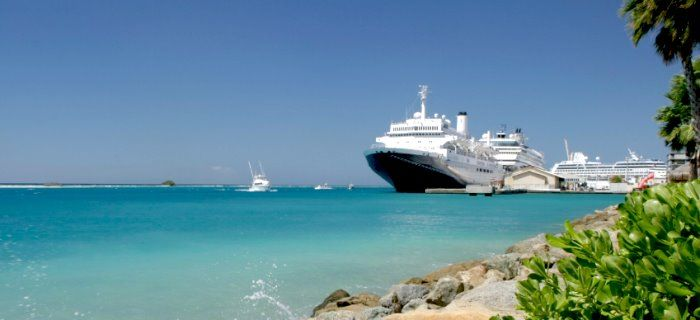several cruise ships at port of call Aruba