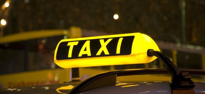 Taxi sign with lights